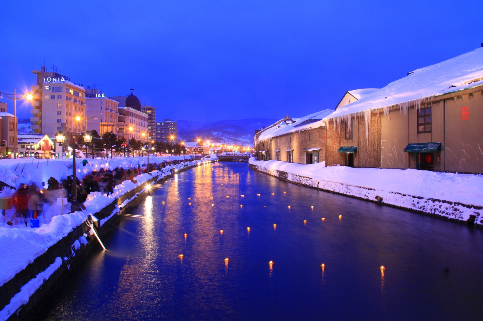 The romantic view of Otaru Canal in winter