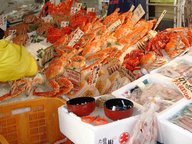 Fresh crabs sold at local fish markets in Hokkaido