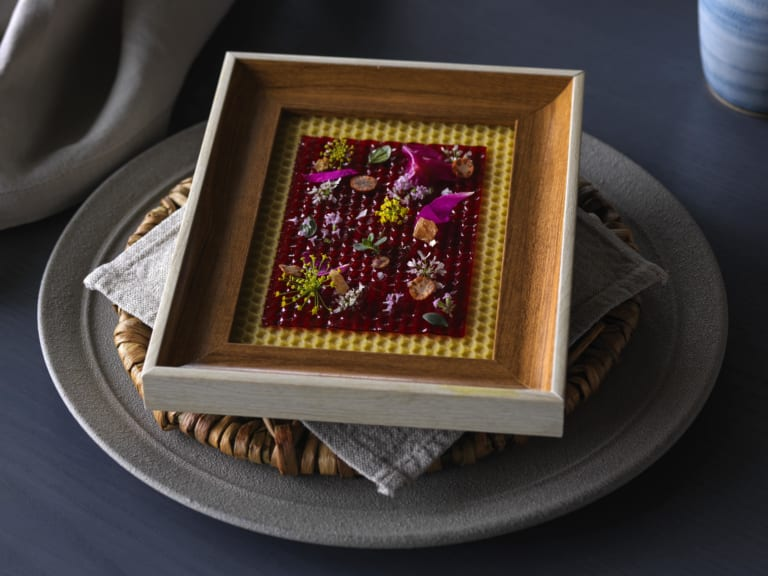 Plum leather with fresh aromatic flowers