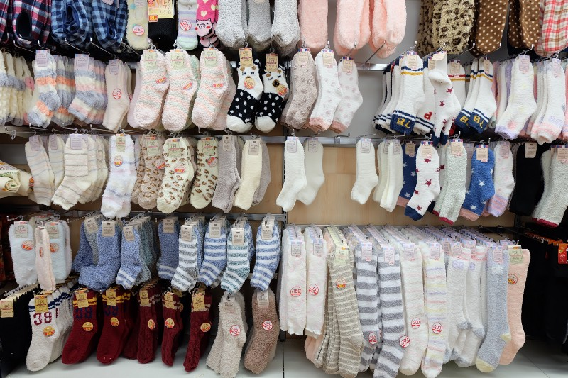 A wide variety of socks sold at Daiso