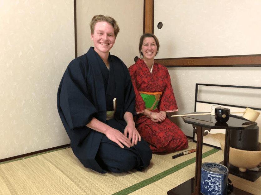 People who are enjoying tea ceremony with Kimono