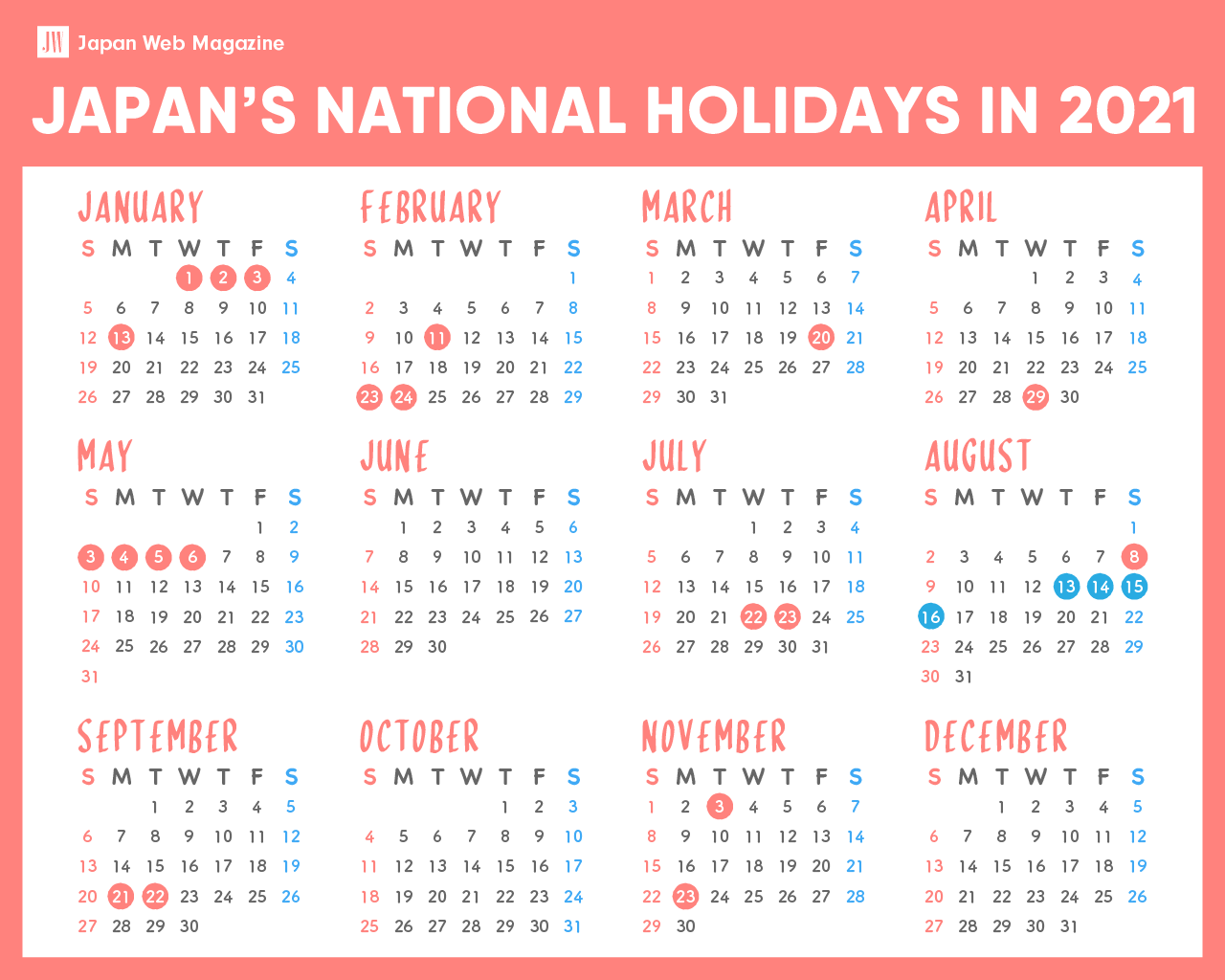 Japanese National Holidays in 2021