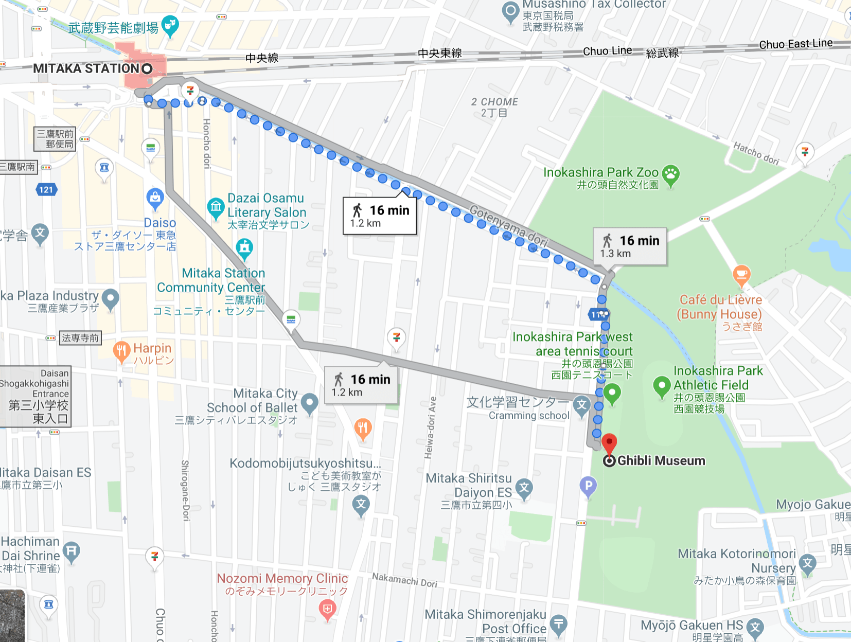 Direction from Mitaka Station to Ghibli Museum