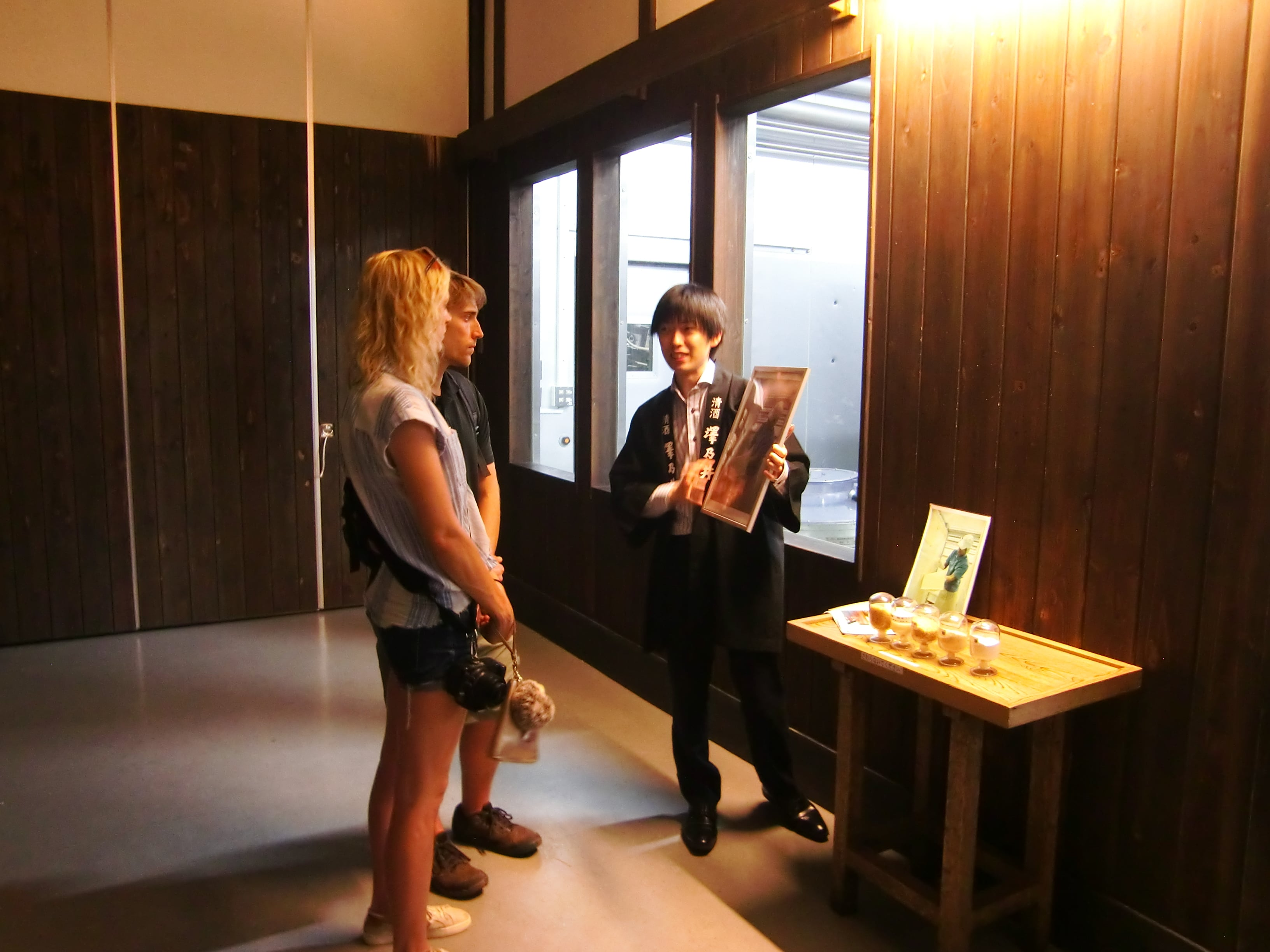 A man guides to the Sake brewery