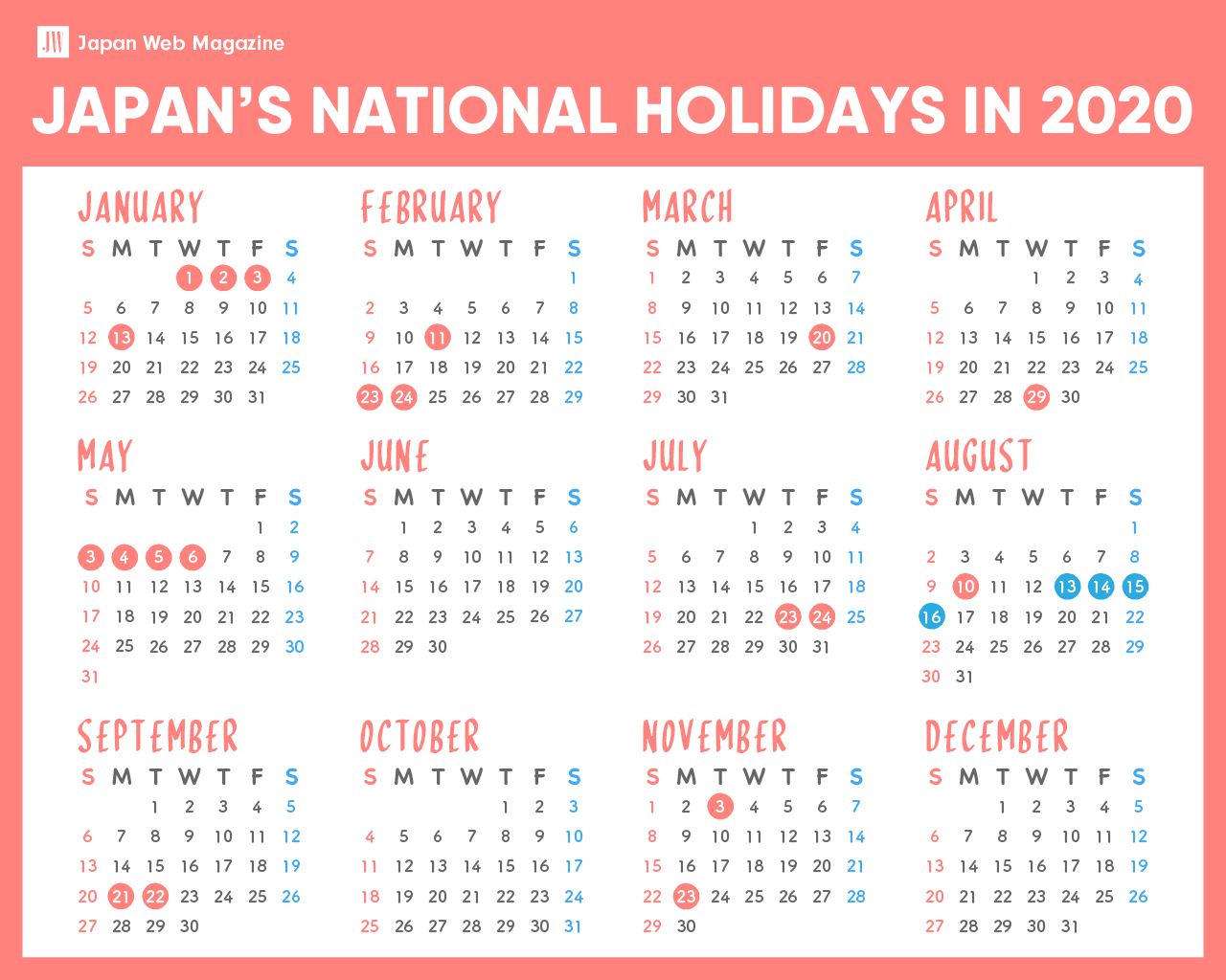 Japanese National Holidays 2020