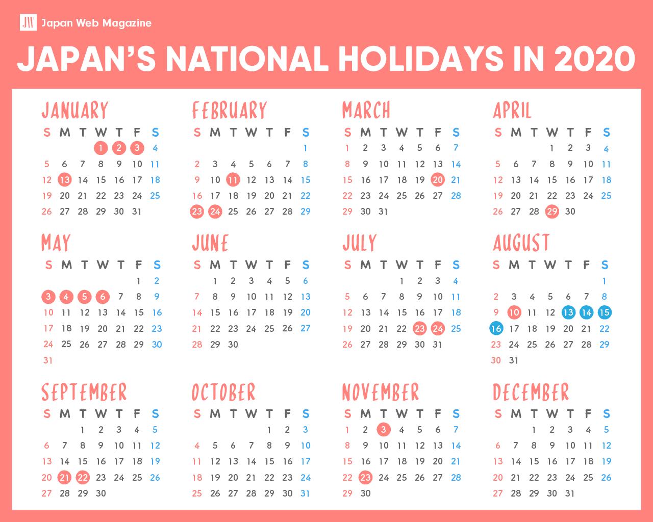 Japanese National Holidays in 2020 - Japan Web Magazine