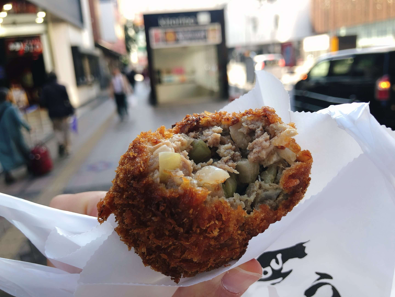 Menchi-katsu (deep-fried minced meat) sold at Sato in Daiya ShoppingArcade