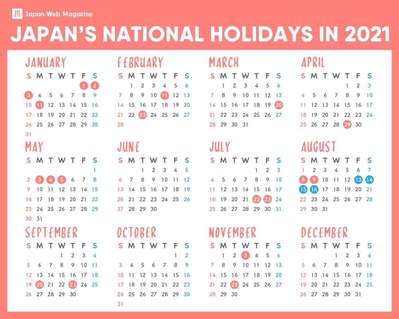 Japan National Holiday 2021