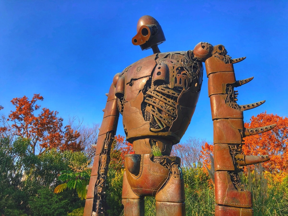 A robot soldier on the rooftop garden of Ghibli Museum