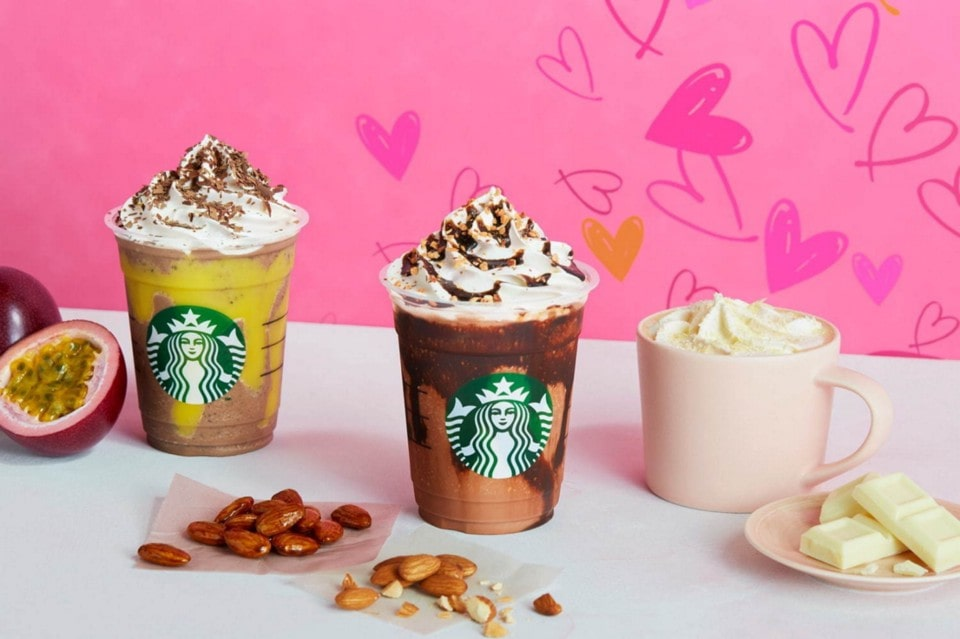 Chocolate with Almond Praline Frappuccino ®, Chocolate with Passion Fruit Frappuccino ® and White Chocolate Latte