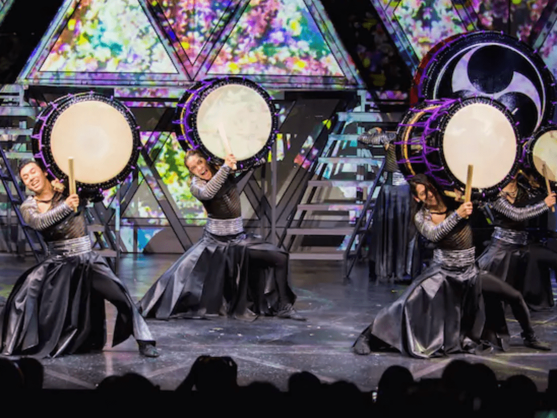 Drum Tao's performers with digital projection