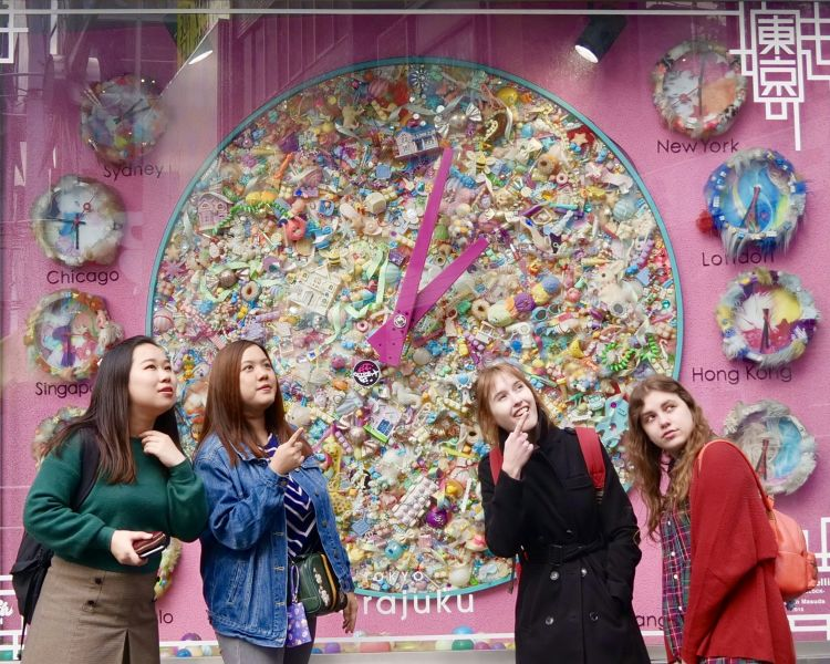 Photo spot with a large pink watch in Harajuku