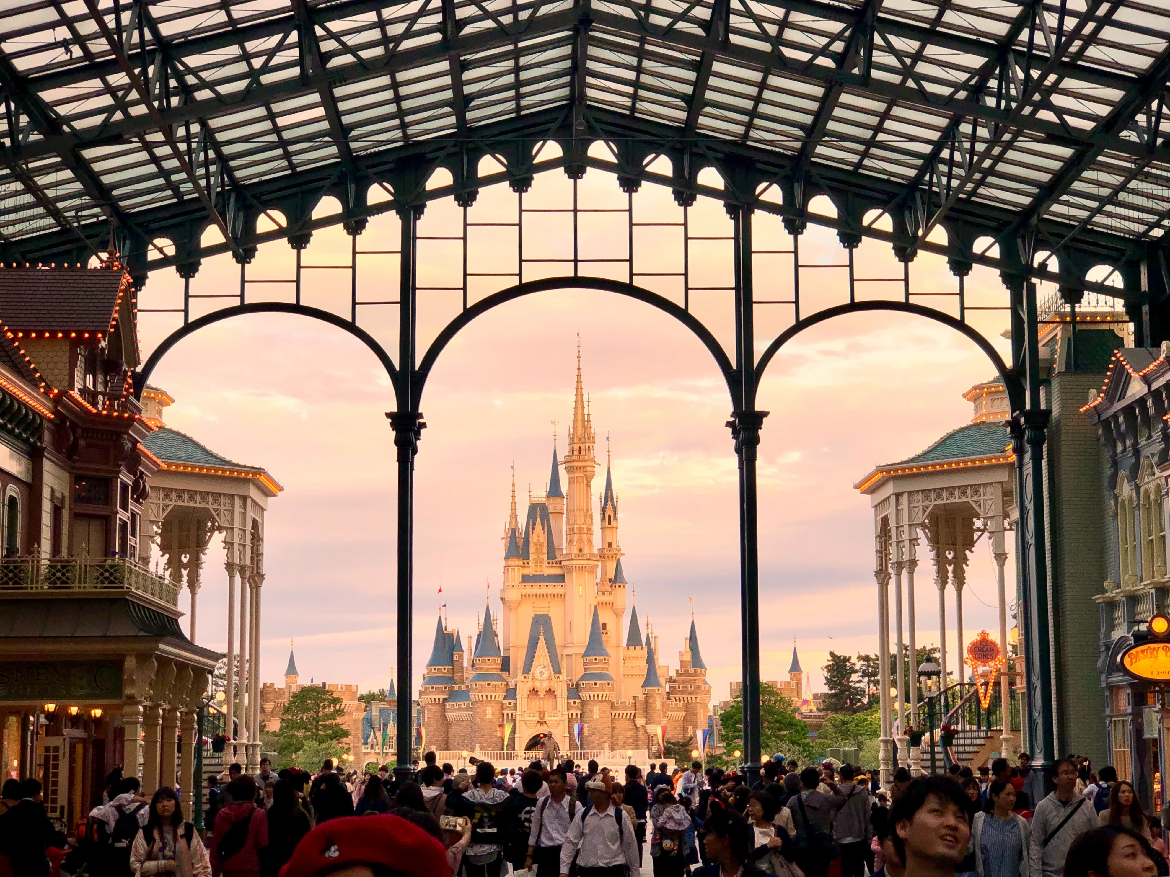 The view of Cinderella Castle from the entrance of Tokyo Disneyland