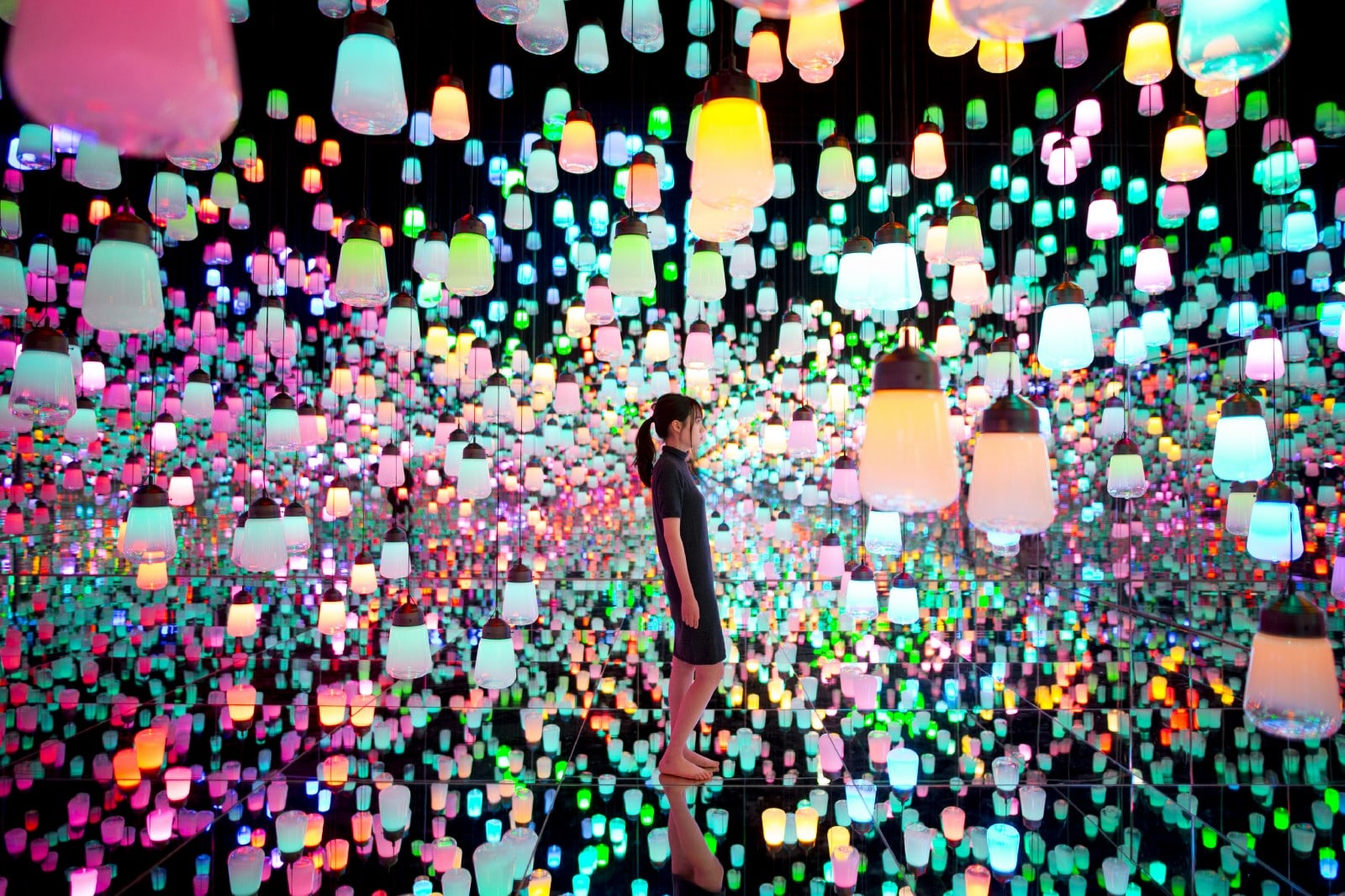 Colorfully lit-up lanterns hung all around the room