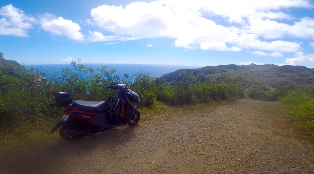 Motorcycle at an observatory in Chichijima Island