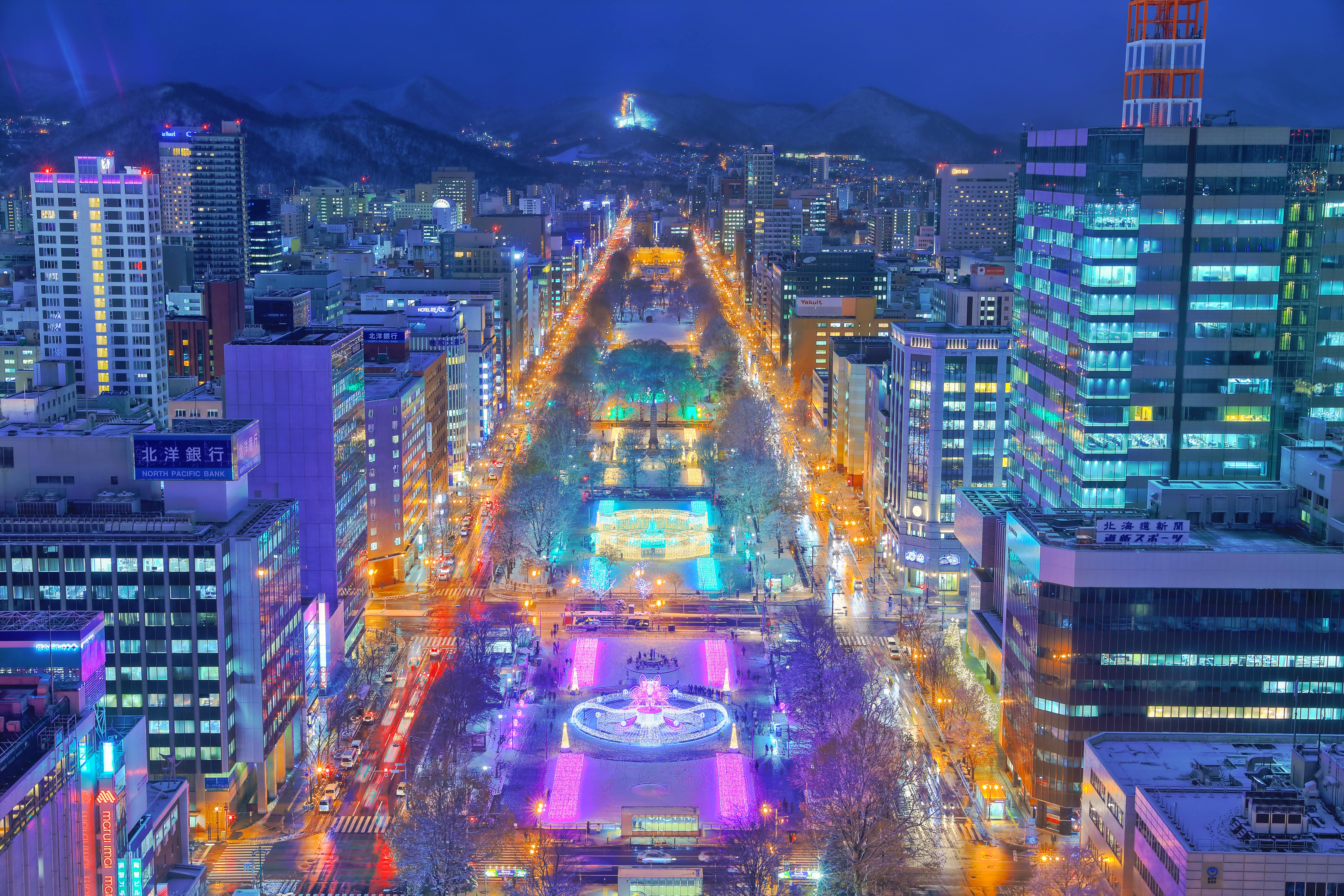 Sapporo night city view