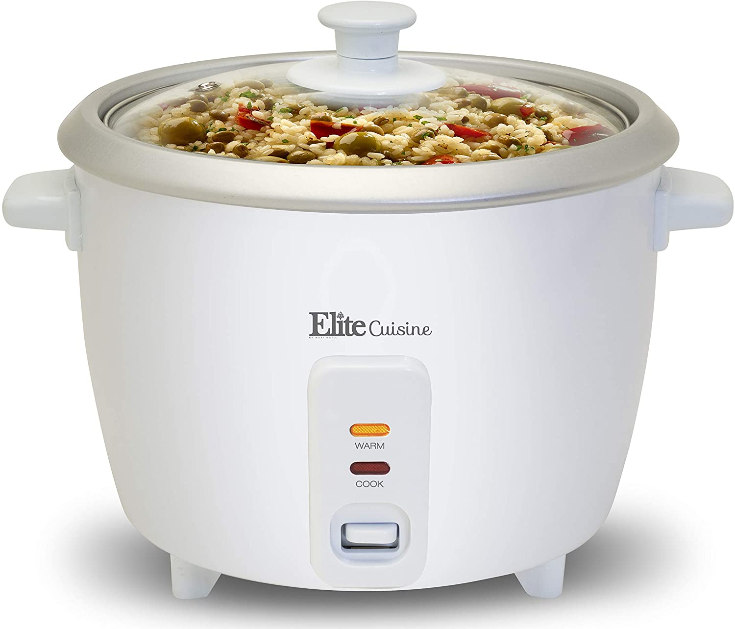 Maxi-Matic Electric Rice Cooker with Automatic Keep Warm Makes Soups, Stews, Grains, Cereals, 3 Cup, White