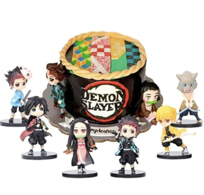 6pcs Newest Demon Slayer Cake Topper Figures Toy Set